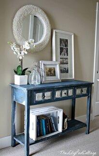 Masuta consola pentru hol din lemn albastra