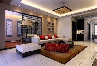 Design oriental living cu tavan fals