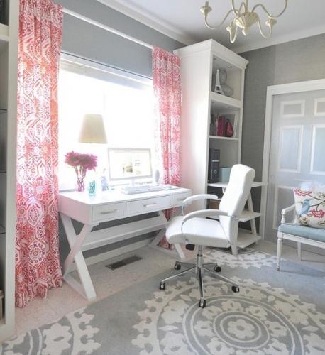 Birou alb modern cu scaun ergonomic piele alba