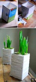 Cutii vechi transformate in ghivece pentru flori