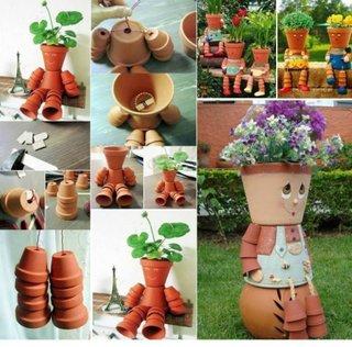 proiect DYI de figurina de gradina facuta din ghivece de flori