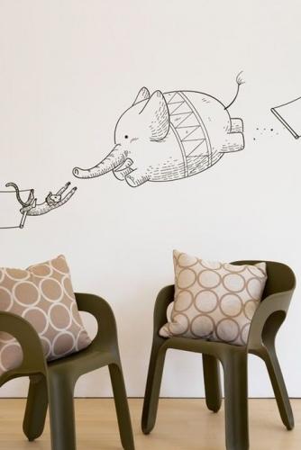 Desene pe pereti facute cu carioca permanenta