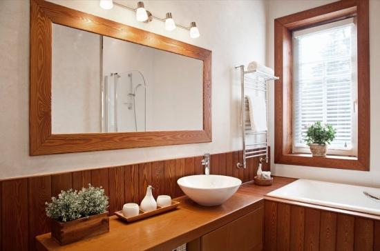 Oglinda baie dreptunghiulara cu rama din lemn