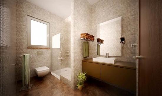 Oglinda simpla de baie fara rama aplicata pe perete placat cu mozaic crem