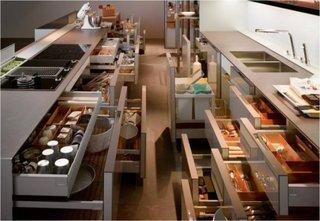 Mobilier bucatarie cu multe sertare