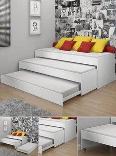 Dormitor alb cu pat modern pliabil