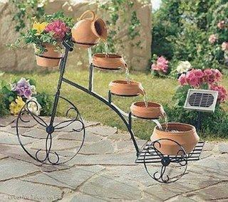 Suport flori in forma de bicicleta din fier forjat