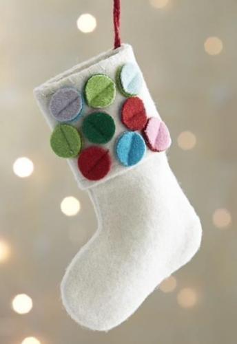 Ciorapel din fetru alb si buline colorate pentru bradul de Craciun