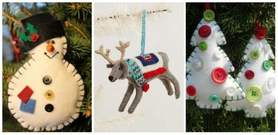 Ornamente si decoratiuni din fetru pentru bradul de Craciun - moderne si originale