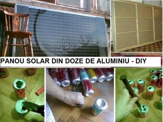 Panou solar construit acasa din doze de bere si suc