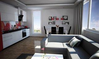 Living open space cu bucatarie cu perete finisat cu sticla