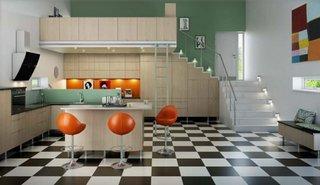 Bucatarie moderna cu podea tabla de sah