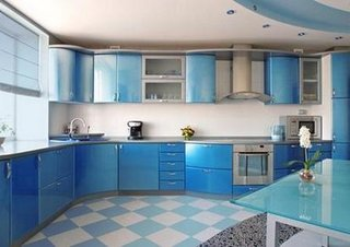Podea tabla de sah albastra