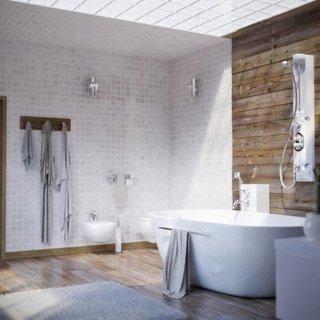 Decor rustic modern in baie cu pardoseala si lambriu din lemn impermeabil