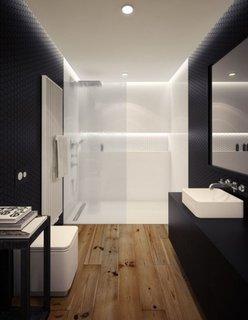 Pardoseala din lemn impremeabil si decor baie moderna cu negru