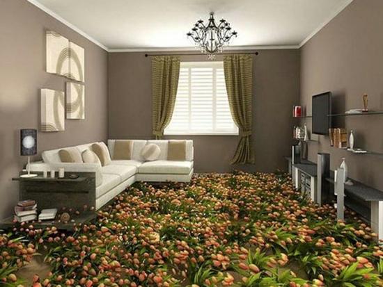 Living cu pardosela epoxidica camp cu flori