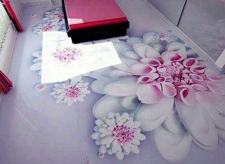 Model interesant cu flori pentru o pardoseala turnata cu rasini epoxidice