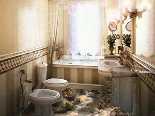 Pardoseala turnata decorativa pentru o baie mica