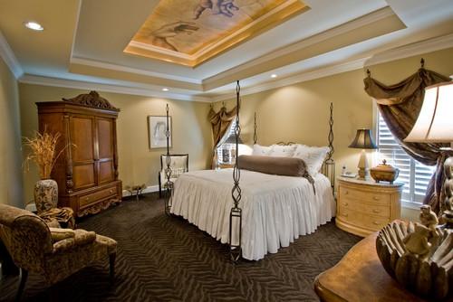 Amenajare clasica a unui dormitor cu pat din fier forjat