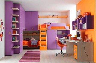 Dormitor pentru 2 copii cu paturi suprapuse incastrate in mobila