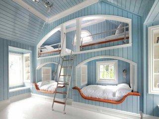 Dormitor pentru 4 copii cu paturi supraetajate