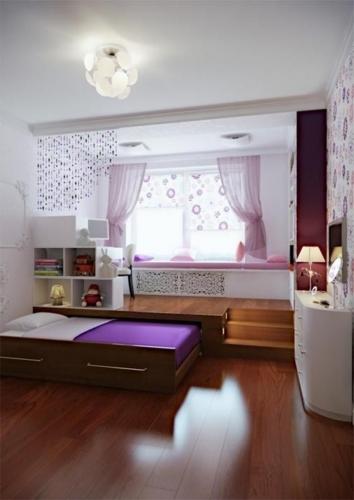 Camera copii cu platforma si pat rabatabil orizontal