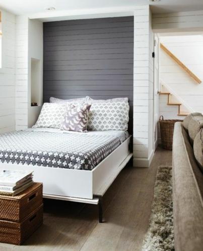 Dormitor modern cu parchet masiv si pat rabatabil pe verticala