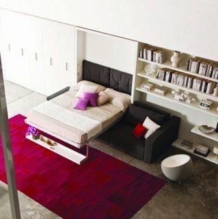 Mobilier modern living cu pat rabatabil electric