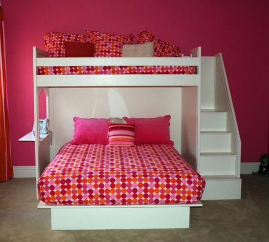 model de pat etajat combinat cu pat rabatabil. Black Bedroom Furniture Sets. Home Design Ideas