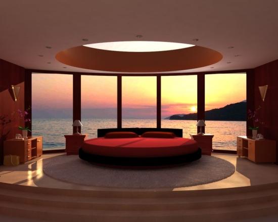 Camera cu vedere la  mare si pat circular