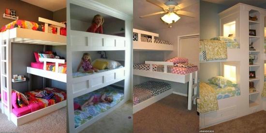 Paturi supraetajate triple - idei interesante de economisire a spatiului din dormitoare