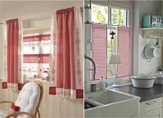Perdele alb cu rosu pentru bucatarie