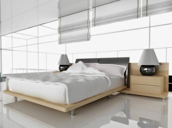 Dormitor minimalist cu podea din ciment slefuit si jaluzele simple