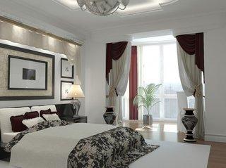 Dormitor prelungit pana in balcon cu draperie ca si panou despartitor