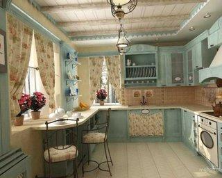 Bucatarie cu pereti bleu si perdele cu motiv floral crem
