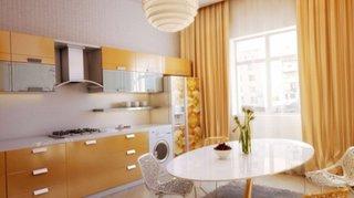 Bucatarie de apartament moderna cu mobilier si draperie caramel