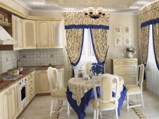 Bucatarie in stil neo clasic cu mobila crem si perdea florala cu borduri violet