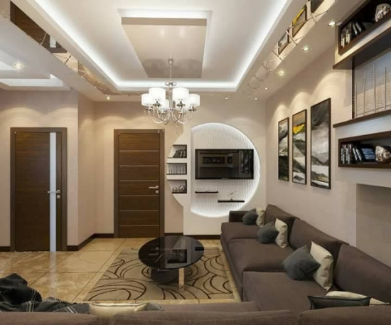 Decor circular perete TV
