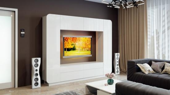 Mobilier alb perete tv