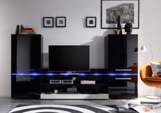 Mobilier negru alb perete tv