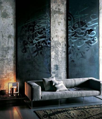 Pereti din beton living industrial
