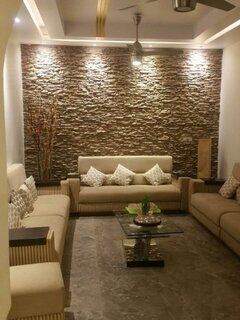 Living amenajat pe lung cu perete cu piatra
