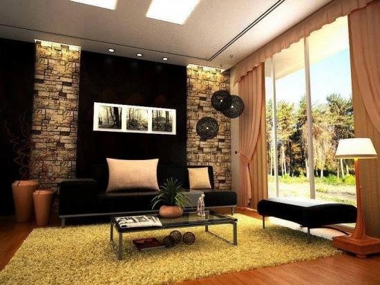 Pereti placati cu piatra decorativa idei originale de - Wallpaper living room modern ...