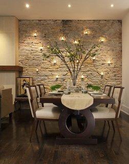 Piatra culoarea crem si wenge idee pentru dining modern