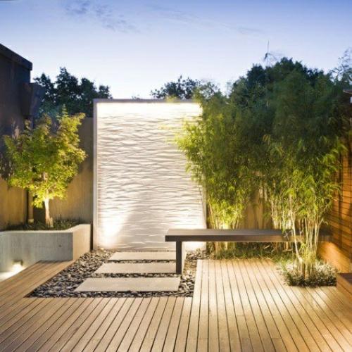 Perete de apa pentru gradina cu iluminare cu efecte de valuri
