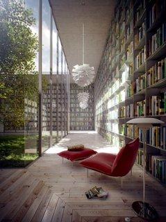 Biblioteca superba cu aer linistitor si relaxant