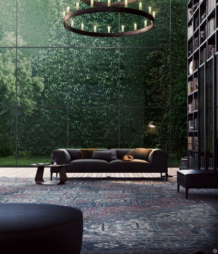 Interior dramatic luminat de peretele de sticla