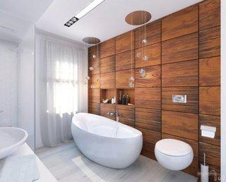 Perete baie placat cu lambriu din lemn