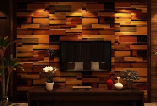 Perete decorativ placat cu lemn