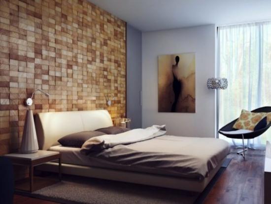 Perete dormitor placat cu lemn